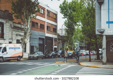 BUENOS AIRES, ARGENTINA - OCTOBER 30, 2017: INTERSECTION IN PALERMO NEIGHBOURHOOD.