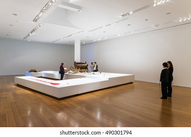 Buenos Aires, Argentina - October 5, 2013: People in an art exhibition in the Malba (Museo de Arte Latinoamericano de Buenos Aires) Museum in the city of Buenos Aires, in Argentina
