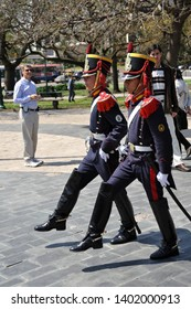 BUENOS AIRES / ARGENTINA - OCTOBER 6 2009: High-stepping honor guard soldiers perform changing of the guard ceremony at Islas Malvinas-Falkland Islands War Memorial.