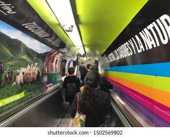 Buenos Aires, Argentina - September 12, 2019: unidentified people lowering down the stairs on the B line subway station in Buenos Aires, Argentina