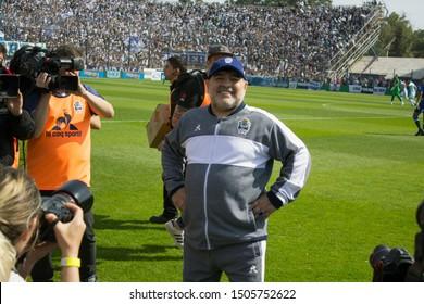 Buenos Aires, Argentina - September 15 2019, The greeting of Diego Armando Maradona in his debut as coach of Gimnasia y Esgrima de La Plata.