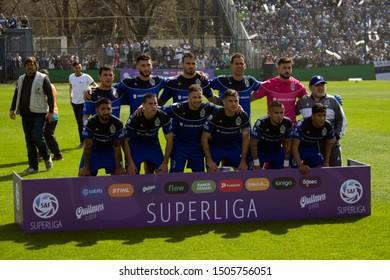 Buenos Aires, Argentina - September 15 2019, Diego Armando Maradona posing with his new team: Gimnasia y Esgrima de La Plata