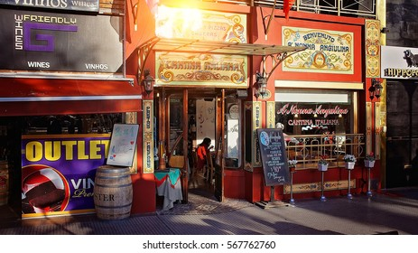 BUENOS AIRES, ARGENTINA - SEPTEMBER 15: Recoleta district, landmark hub for social life, restaurants and cafes on 15 of September in Buenos Aires, 2015.