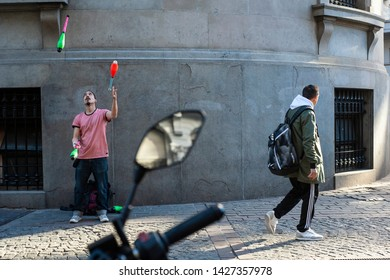 Buenos Aires, Argentina. September 4, 2018. Street artist takes part in a performance in front of the City's Legislature to demand the stop of police persecution and let street artists perform freely.