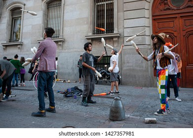 Buenos Aires, Argentina. September 4, 2018. Street artists perform in front of the Legislature to demand the stop of police persecution and allow them to perform freely in the streets of Buenos Aires.