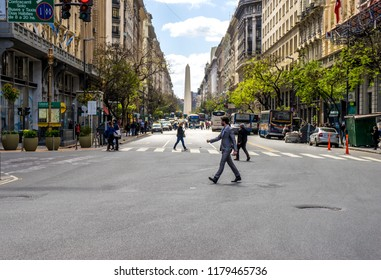 BUENOS AIRES, ARGENTINA SEPTEMBER 7: View on the center of the city as pedestrians and traffic pass by on September 7, 2016 in Buenos Aires, Argentina.