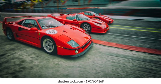 Buenos Aires, Argentina. Year 2011: Three classic Ferrari. F40, F50 and Enzo in an event of the Italian brand in Argentina.