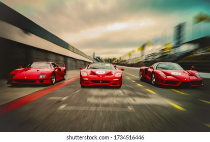 Buenos Aires, Argentina. Year 2011: front view of three classic Ferrari in motion. F40, F50 and Enzo in an event of the Italian brand in Argentina.