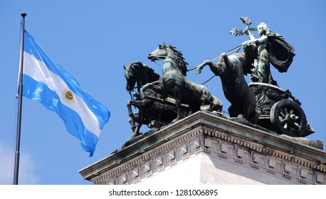 BUENOS AIRES ARGENTINA11 25 2011: Quadriga atop the entrance of the  Congress of the Argentine Nation (Spanish: Congreso de la Nacion Argentina) is the work of sculptor Victor de Pol