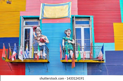 Buenos Aires, Argentina-20 June, 2019: Colorful buildings of El Caminito, a street museum and a traditional alley frequented by tourists, located in La Boca, a neighborhood of Buenos Aires