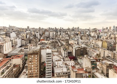 Buenos Aires, Argentina-circa 2013: Aerial photo. Panorama of Buenos Aires with different architectural  buildings