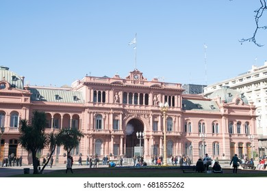 BUENOS AIRES, ARGENTINE - JULY 18, 2017:  Casa Rosada (pink house) Buenos Aires Argentina.La Casa Rosada is the official seat of the executive branch of the government of Argentina