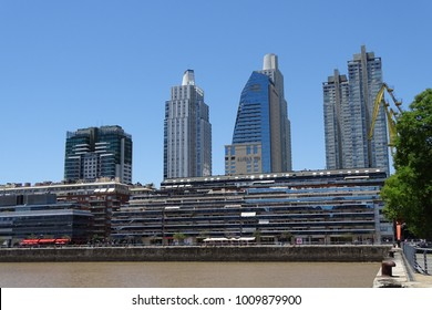 Buenos Aires, building view from Puerto Madero near the river,November 30 2017, Argentina