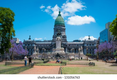 BUENOS AIRES - CIRCA NOVEMBER 2012: Congressional Plaza and Congress Building, Circa November 2012. Popular among tourists, the plaza is also a location for protesters who want to voice their opinion