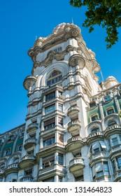 BUENOS AIRES - CIRCA NOVEMBER 2012: Facade of Palacio Barolo, Circa November 2012. The building is landmark on the city, located in Avenida de Mayo when it was built was the tallest building in city.
