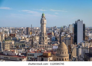 Buenos Aires City Legislature Tower and downtown aerial view - Buenos Aires, Argentina
