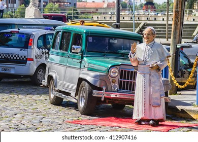 BUENOS AIRES - FEBRUARY 24, 2016: Statue of pope Francis in la Boca in Buenos Aires, Argentina