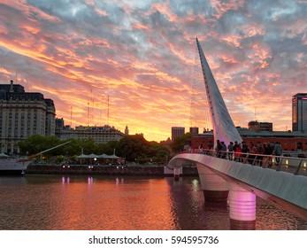 BUENOS AIRES, FEBRUARY 28, 2017 - Puerto Madero neighborhood, Women's Bridge.