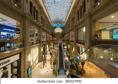 BUENOS AIRES, JANUARY 20, 2016 - Galerias Pacifico, shopping center in Buenos Aires, Argentina, located at the intersection of Florida Street and Cordoba Avenue.