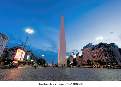 BUENOS AIRES, JANUARY 20 - Obelisk of Buenos Aires, national historic monument and icon of the city, located in the Plaza de la República, in the intersection of avenues Corrientes and 9 de Julio