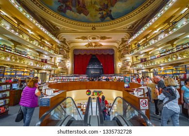 BUENOS AIRES - JANUARY 24. 2019: El Ateneo, the famous book store, Buenos Aires, Argentina, January24. 2019. El Ateneo is located in the building of old theater.