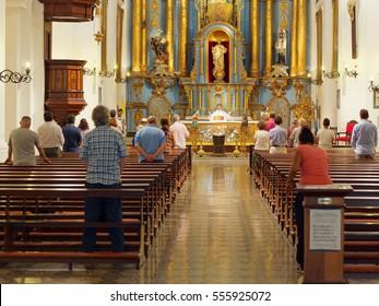 BUENOS AIRES, JANUARY 3, 2017 - Mass celebration inside catholic church