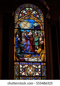 BUENOS AIRES, JANUARY 4, 2017 - Stained glass inside catholic church
