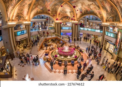 BUENOS AIRES - JULY 26, 2014 - Iterior of Galerias Pacifico, one of the most elegant shopping mall of Buenos Aires