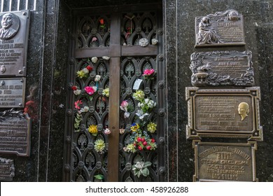 BUENOS AIRES, JULY 9, 2016 - La Recoleta Cemetery, located in the Recoleta neighborhood of Buenos Aires, Argentina. It contains the graves of notable people, including Eva Peron