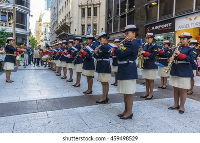 BUENOS AIRES, JULY 9, 2016 - Argentine Navy musical band playing in the street.