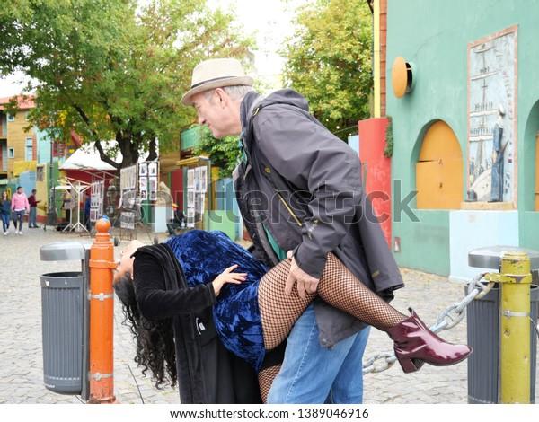 Buenos Aires, La Boca, Argentina, 04-15-2019: Tango Dancing Couple