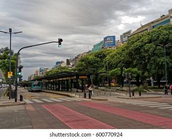 BUENOS AIRES, MARCH 11, 2017 - 9 de Julio Avenue, Buenos Aires Downtown