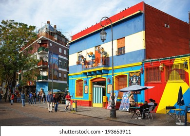 BUENOS AIRES MAY 01: Colorful Caminito street in the La Boca, Buenos Aires, Argentina, 01 May 2014. The street is a major tourist attraction in Buenos Aires