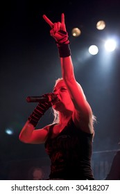 BUENOS AIRES - MAY 2:  Arch Enemy's singer Angela Gossow performs onstage at El Teatro Theater May 2, 2009 in Buenos Aires, Argentina