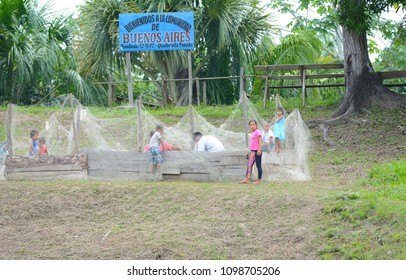 BUENOS AIRES, NAUTA, PERU - OCT 15, 2015: Welcome sign at a Turtle hatchery in the village on the Quebrada Pucate, a stream of the Maranon River in the Peruvian Rainforest. Founded in 1972.