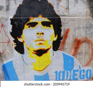 BUENOS AIRES NOV 24: Diego maradona graffiti on November 24, 2011 in Buenos Aires. The walls of the Argentine city enlivened by murals, whimsical painted figures, graffiti and stencils