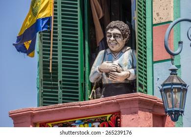 BUENOS AIRES - NOVEMBER 4: Statue of Diego Maradona in la Boca on November 4, 2012 in Buenos Aires.