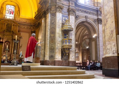 Buenos Aires State/Argentina 06/10/2014.Catholic priest during mass in Metropolitan Cathedral, San Martin, Buenos Aires, Argentina.