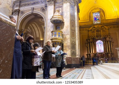 Buenos Aires State/Argentina 06/10/2014.People participating in Catholic mass. in Metropolitan Cathedral, San Martin, Buenos Aires, Argentina.