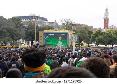 Buenos Aires State/Argentina 06/25/2014. Argentina soccer team fans watching The soccer world cup 2014 Argentina vs Nigeria in Plaza San Martín or San Martin Square.