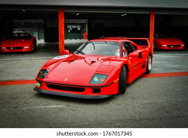 Buenos Aires. Year 2011: front view of Ferrari F40. Supercar from the 80s.
