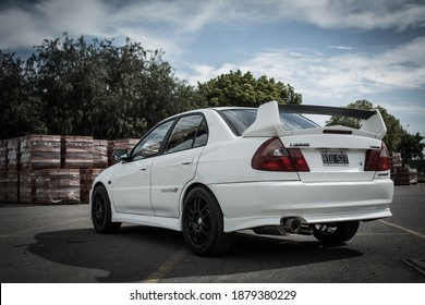 Buenos Aires, year 2015: Rear View of a white Mitsubishi Lancer Evolution IV. 90s japanese sportcar.