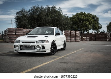 Buenos Aires, year 2015: View of a white Mitsubishi Lancer Evolution IV. 90s japanese sportcar.