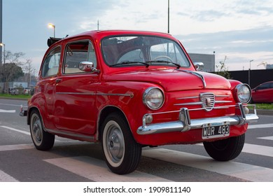 Buenos Aires, year 2015: view of a red Fiat 600 on the street. Popular small car.