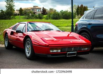 Buenos Aires, Year 2016: old Ferrari 328 GTS. Italian classic supercar restored, like new.