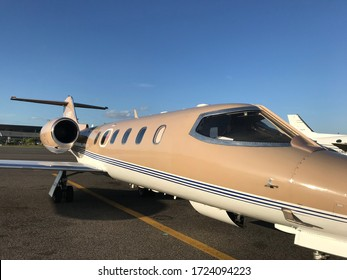 """Buenos Aires, Year 2018: Learjet 35 """"LV-BXU"""" at the Buenos Aires metropolitan airport. Private jet, medical plane."""