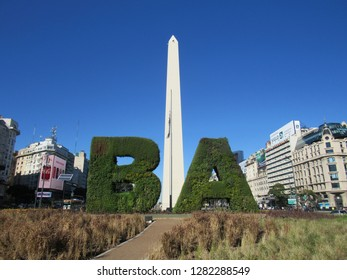 Buenos Aires/Argentina - August 08 2016 - Obelisk on the avenue July 9 in downtown Buenos Aires in commemoration of the fourth centenary of the foundation of the city