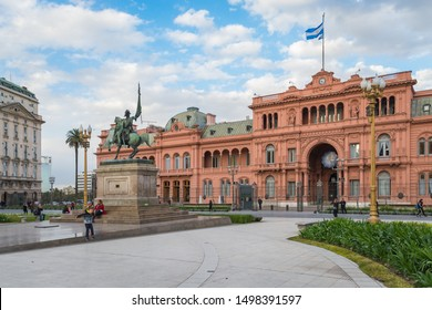 Buenos Aires/Argentina - September 02nd 2019: Pink House (Casa Rosada) or House of Government (Casa de Gobierno) is the Executive Mansion and office of the President of Argentina