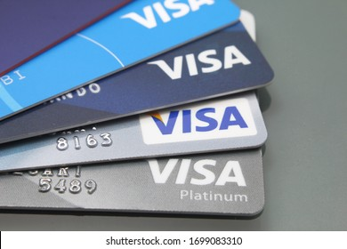 Buenos Aires/Argentine - April 09 2020: Close-up of Visa credit cards placed on a dark background