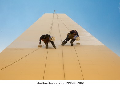 Buenos Aires/Buenos Aires district/Argentina - Oct 12 2014: Obelisk maintenance painters in Buenos Aires